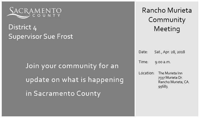 Supervisor Sue Frost Rancho Murieta Community Meeting (Sacramento ...