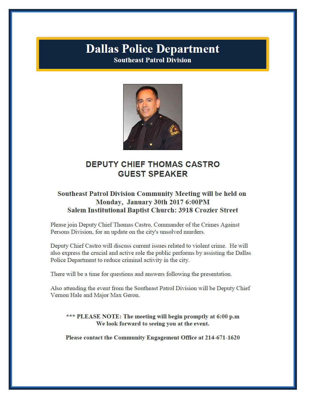 SOUTHEAST PATROL DIVISION COMMUNITY MEETING (Dallas Police