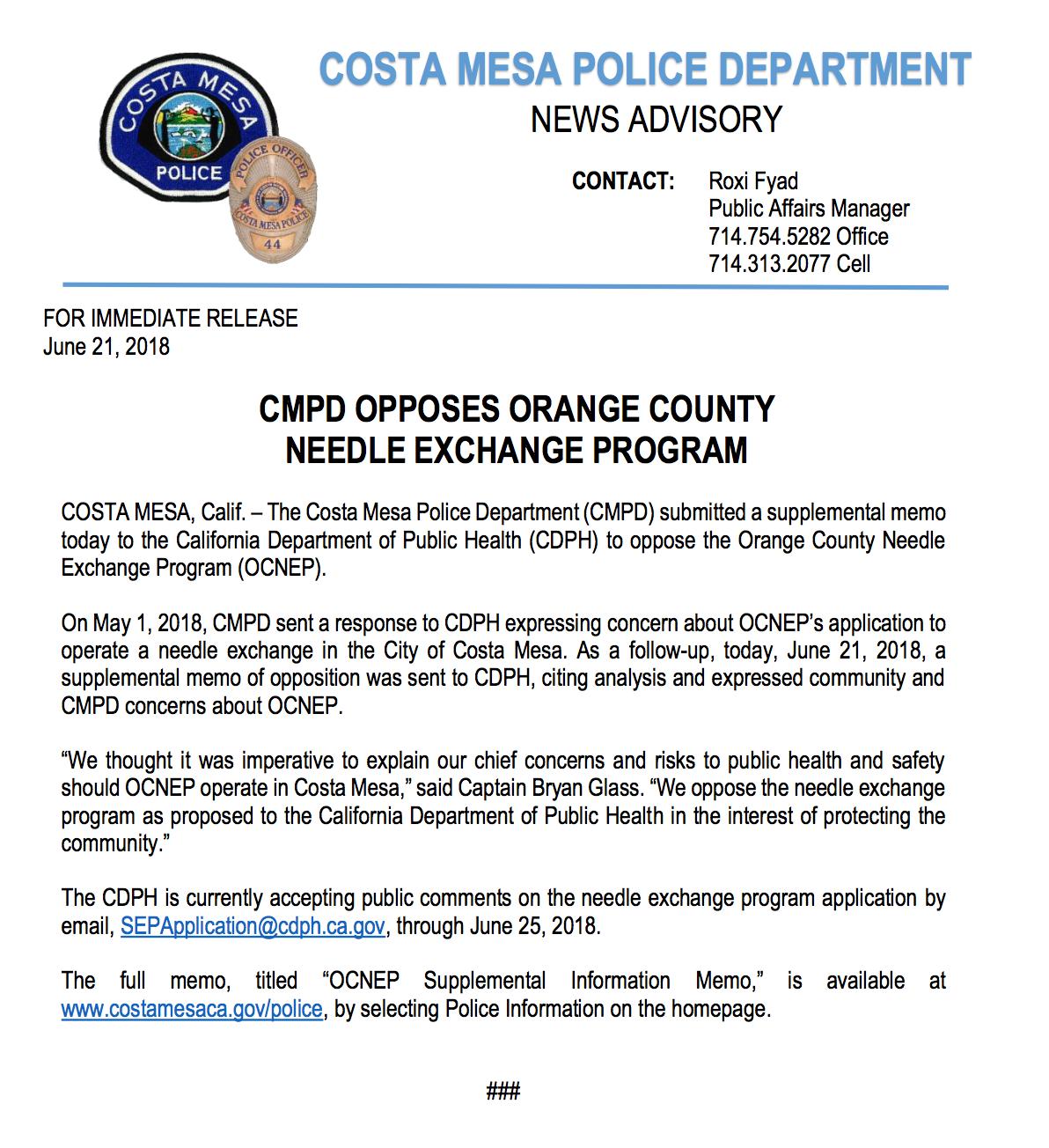 CMPD opposes the OC Needle Exchange Program (Costa Mesa