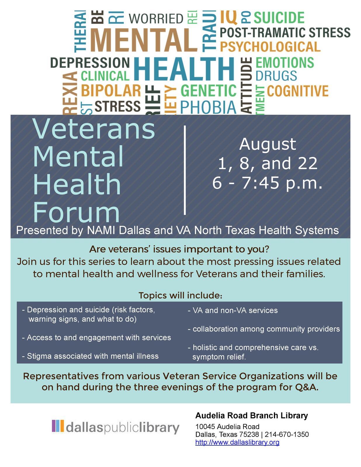 TONIGHT- Veterans' Mental Health Forum at Audelia Road