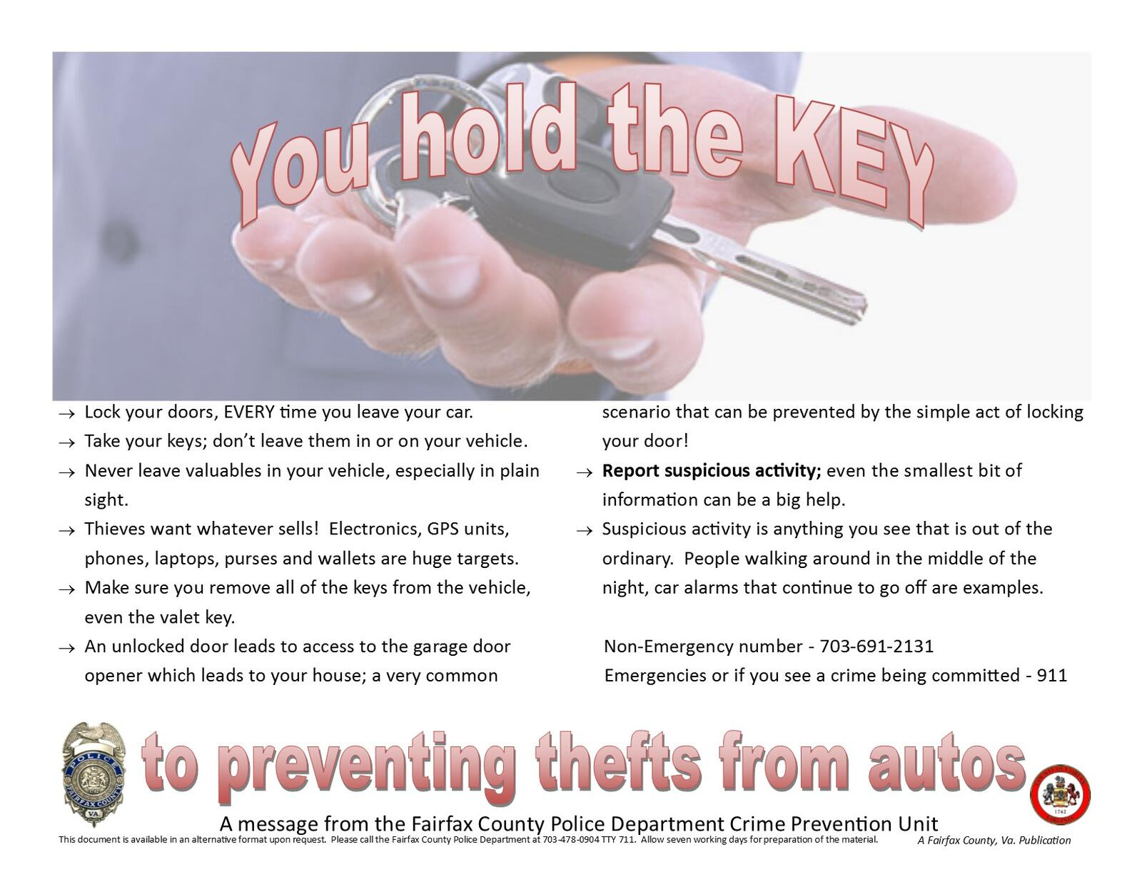 You Hold the Key (Fairfax County Police Department) &mdash