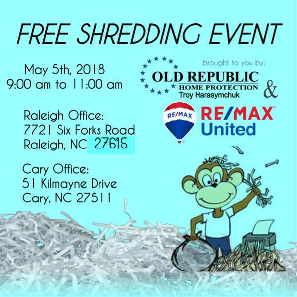 May 5 · Shredding Event- Janice Rosenberg -Re/Max United