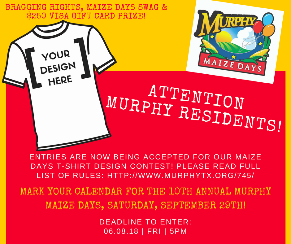 Murphy Visa Card >> T Shirt Contest 250 Visa Card Prize City Of Murphy Mdash