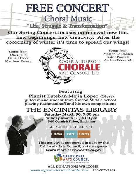 Mar 30 · Free choral and piano concert — Nextdoor