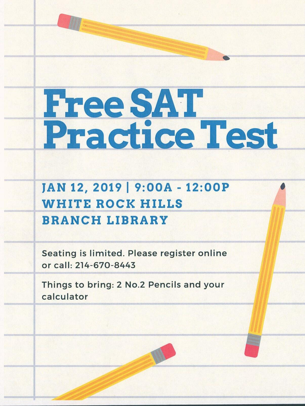 Free SAT Practice Test with c2 Education (Dallas Public Library