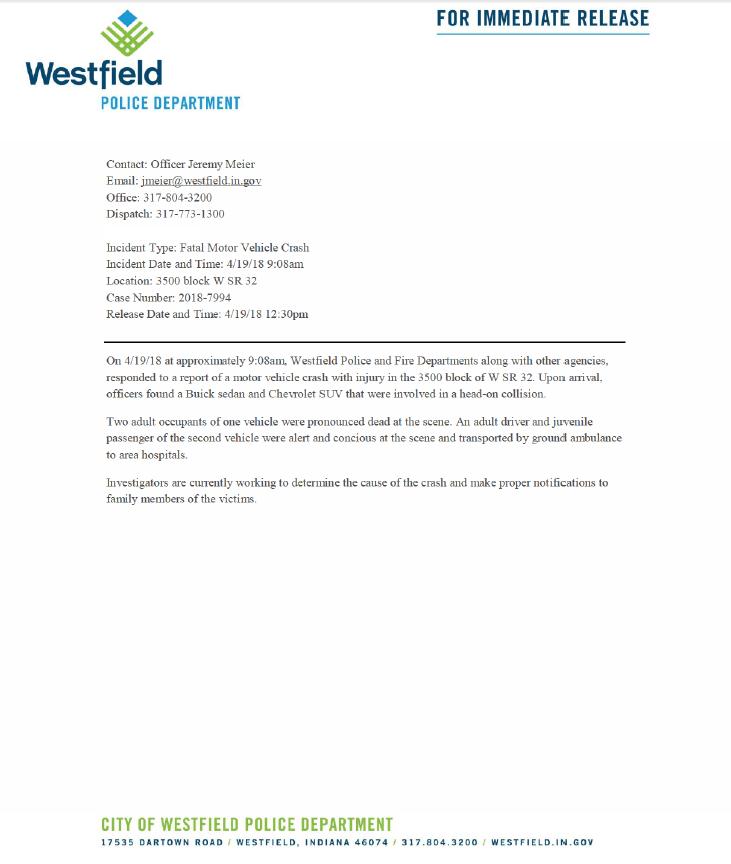 FOR IMMEDIATE RELEASE: Fatal Motor Vehicle Crash (Westfield Police