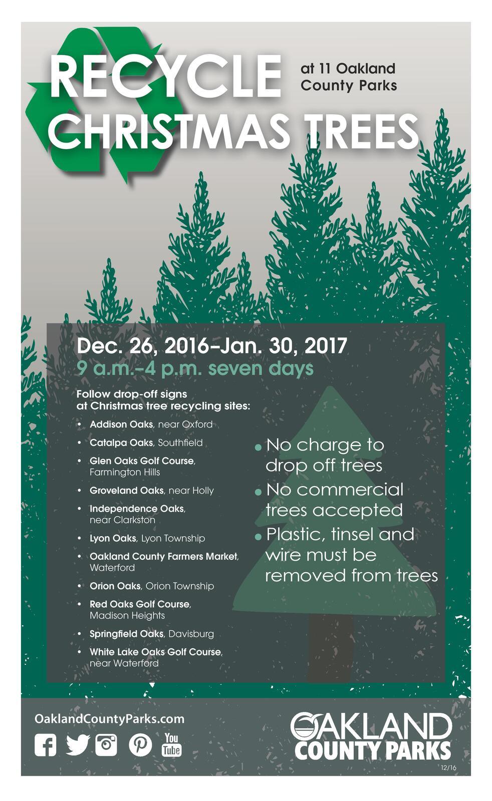 Christmas tree recycling and disposal (City of Novi)   Nextdoor