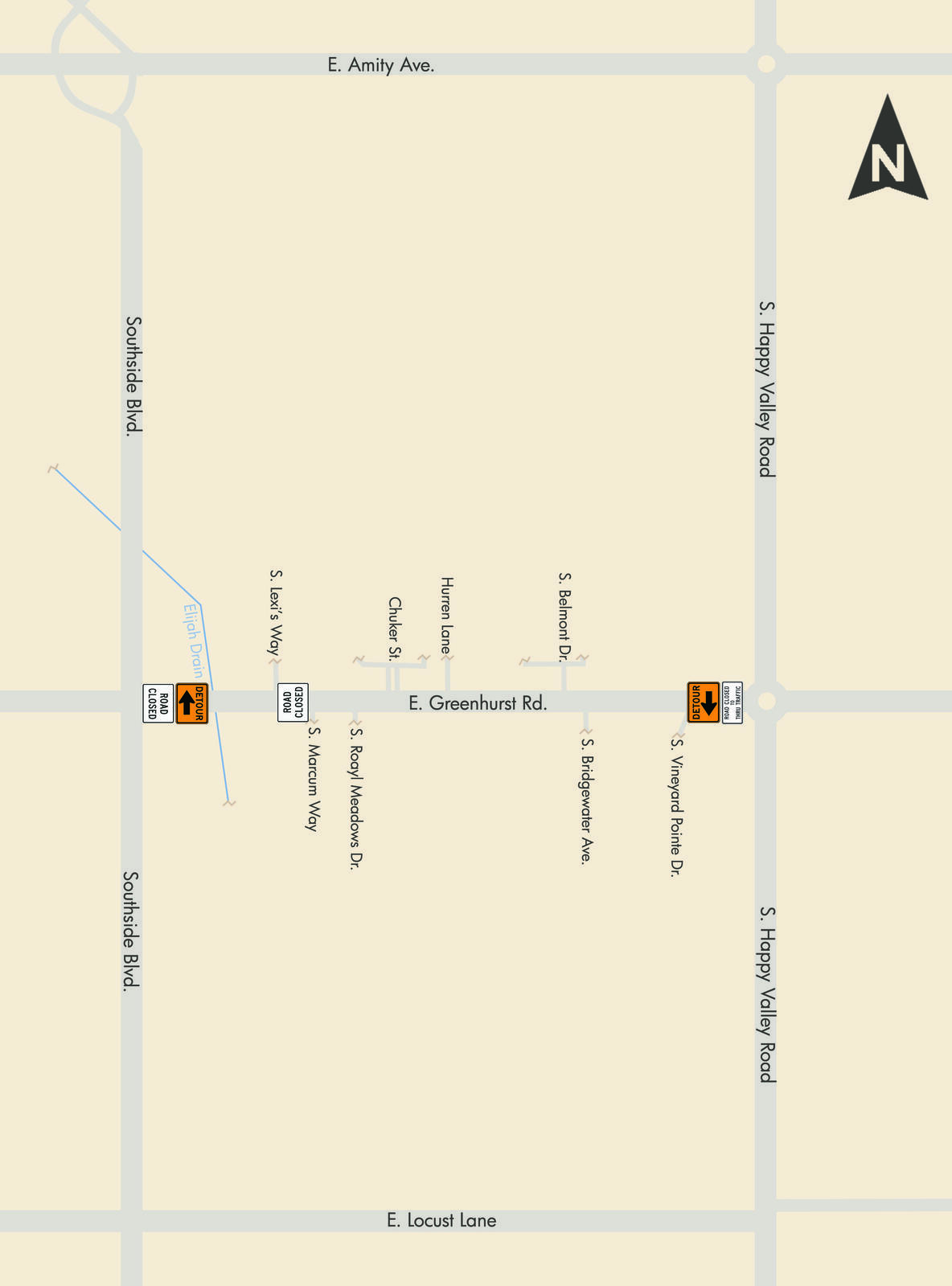 Greenhurst Road (btwn Southside Blvd & Marcum Way) will be closed to