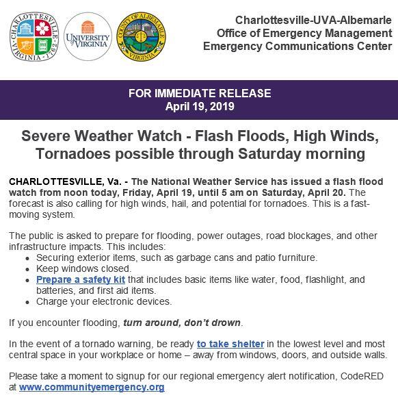 Press Release for Incoming Storms 4 19 19 (Charlottesville-UVA