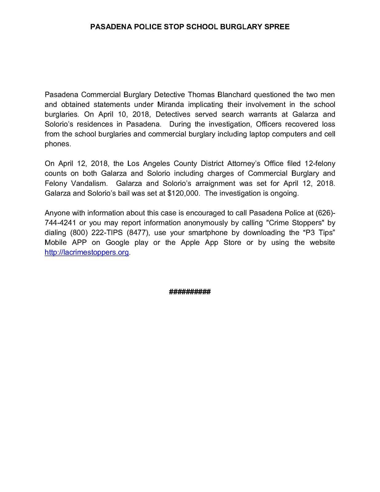 NEWS RELEASE: PASADENA POLICE STOP SCHOOL BURGLARY SPREE (Pasadena