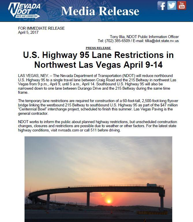 US Highway 95 Lane Restrictions April 9 - 14th (City of Las