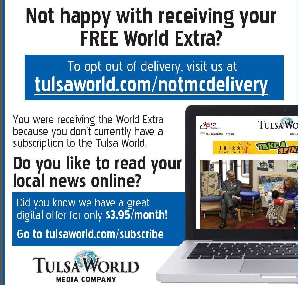 Are you tired of getting the orange bag with Tulsa World Ads