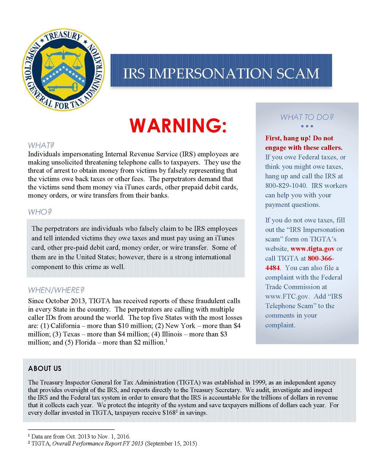 IRS IMPERSONATION SCAM (Fort Worth Police Department) | Nextdoor