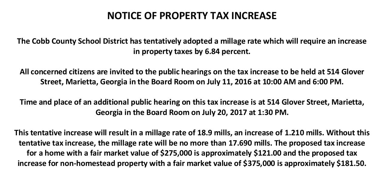 Jul 11 · Property Tax Hike Meeting #3 - Cobb Schools — Nextdoor