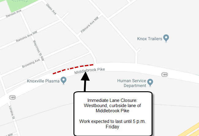 Immediate Lane Closure: Middlebrook Pike at Glenn Avenue
