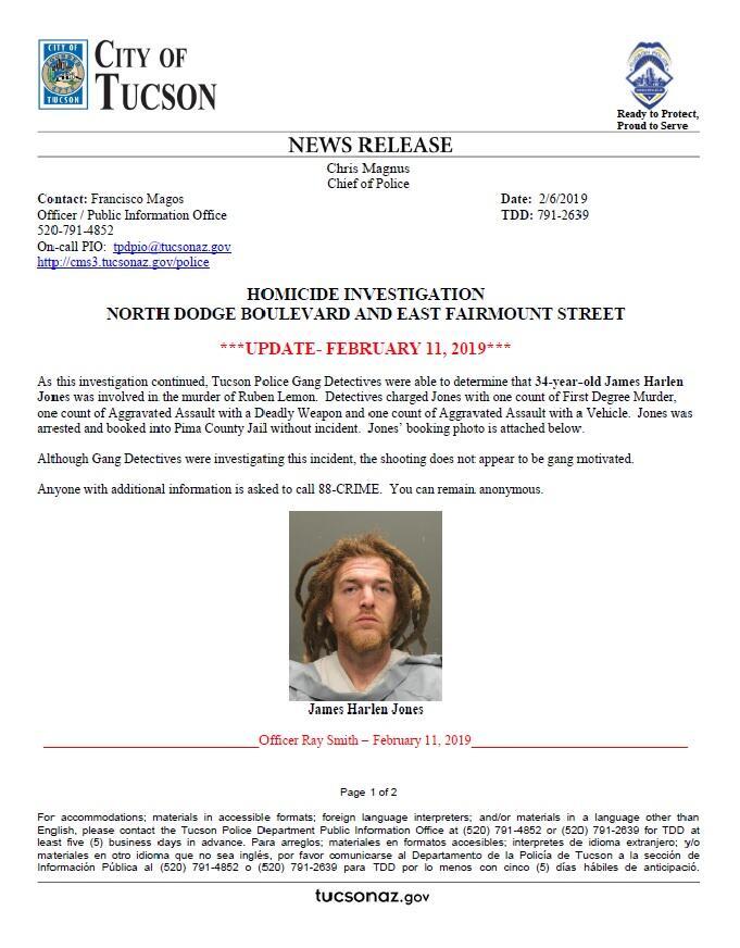 Arrest made in Feb  5th homicide at Dodge/Fairmount (Tucson