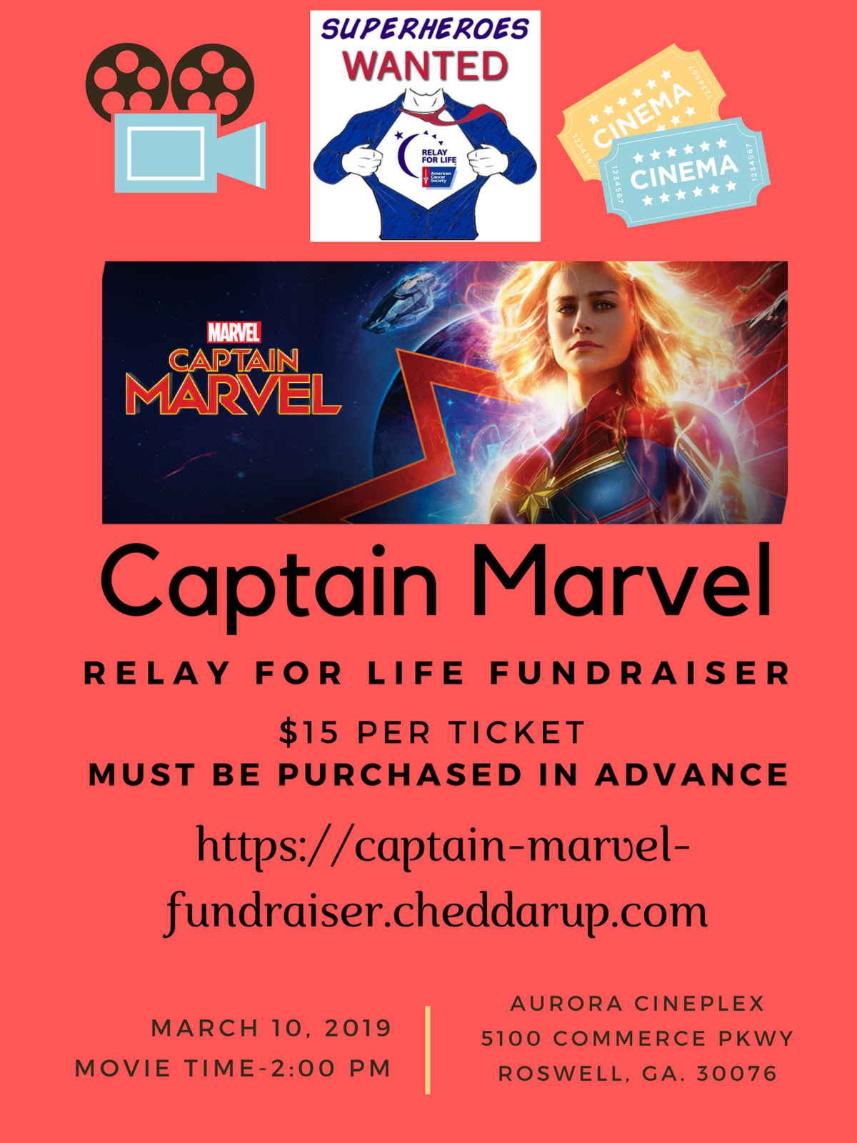 mar 10 · private viewing of captain marvel to benefit relay for life