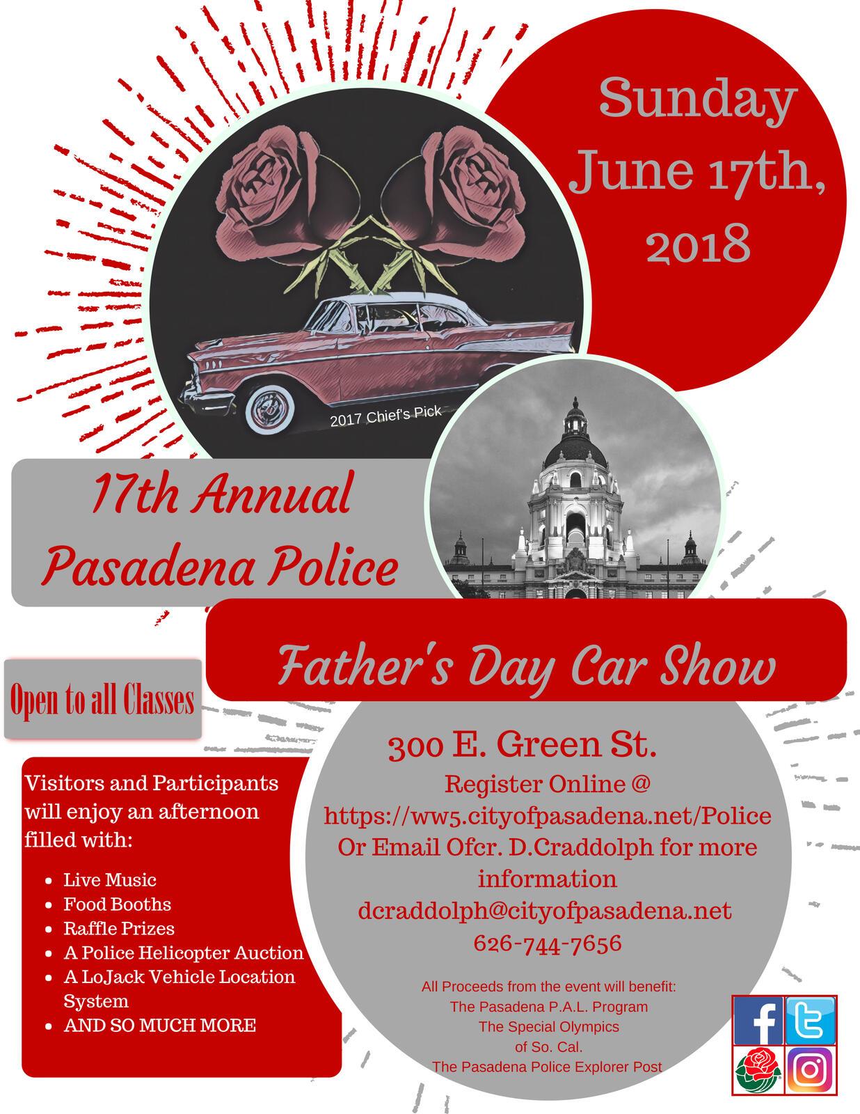 Pasadena Police Annual Car Show And City Chalk Art Festival - Pasadena car show