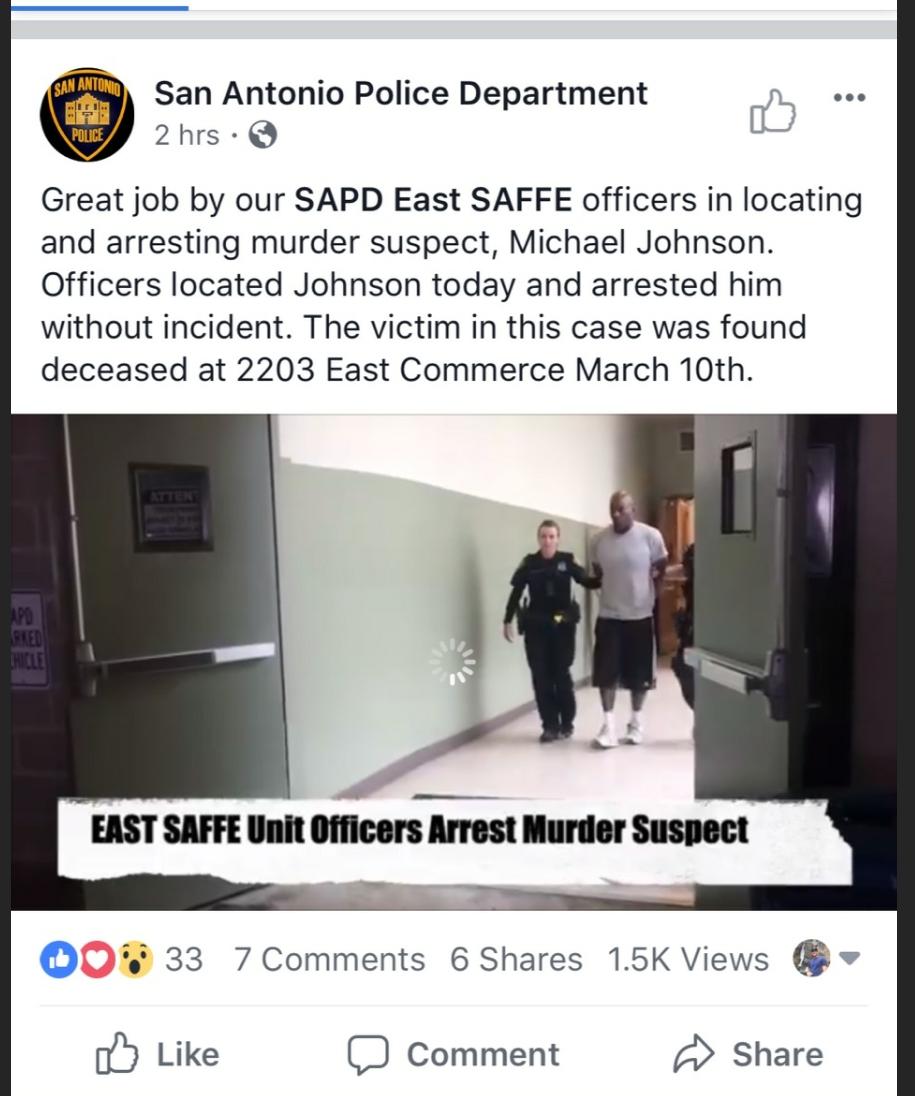 Murder Suspect Arrested (San Antonio Police Department