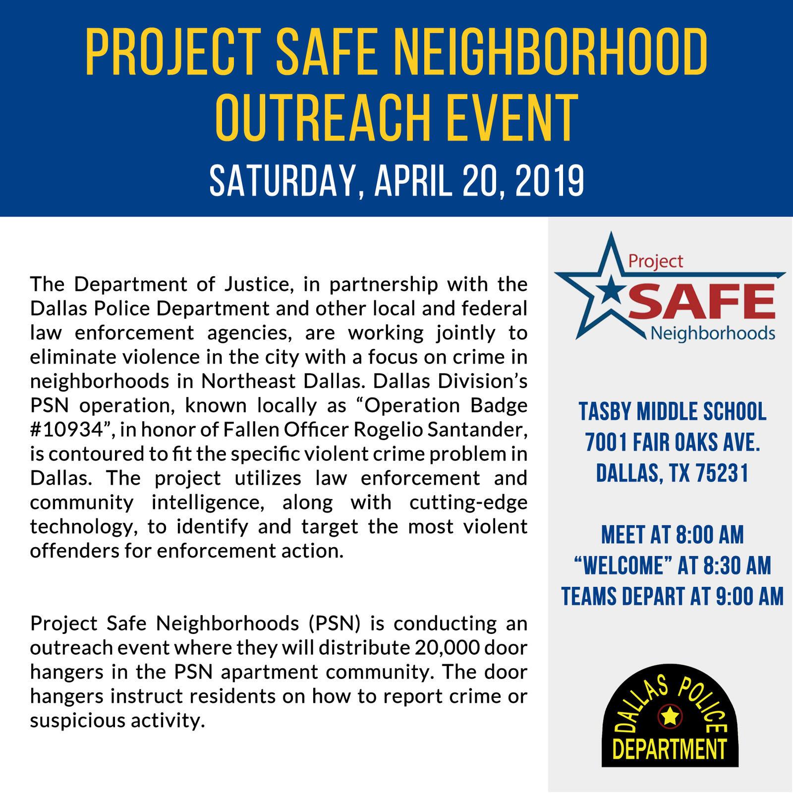 Project Safe Neighborhood Outreach Event (Dallas Police