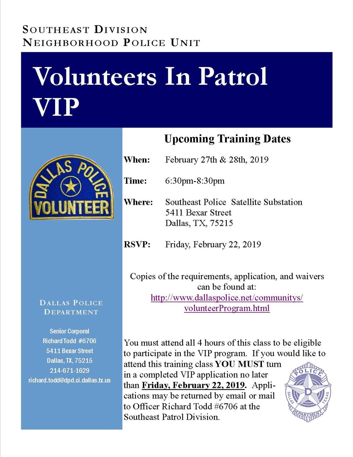 Volunteers In Patrol Training (Dallas Police Department
