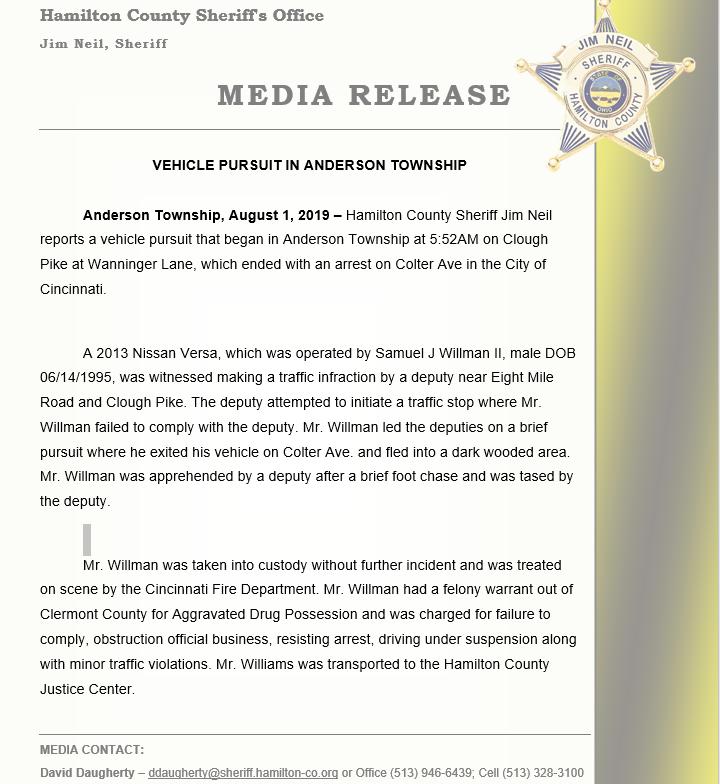 HCSO Media Release (Hamilton County Sheriff's Office) &mdash
