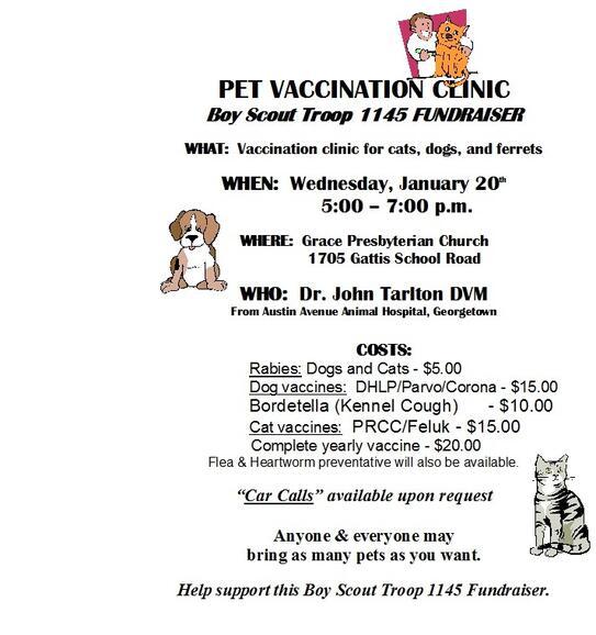 Jan 20 · Pet Vaccination Clinic - Boy Scout Troop 1145
