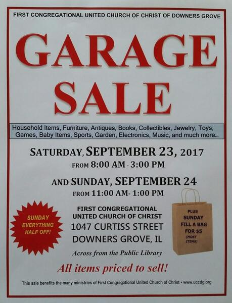 Sep 23 · HUGE FIRST CONGREGATIONAL CHURCH GARAGE SALE 9/23 and 9/24