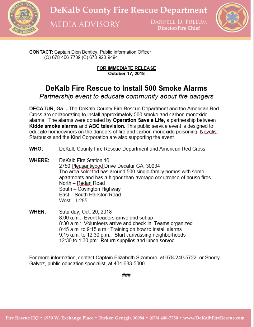Dekalb Fire Rescue To Install 500 Smoke Alarms Partnership Event To Educate Community About Fire Dangers Dekalb County Police Department Nextdoor