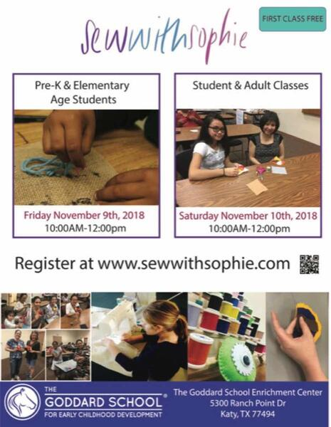 Nov 9 New Pre K And Elementary Age Sewing Classes At The Goddard