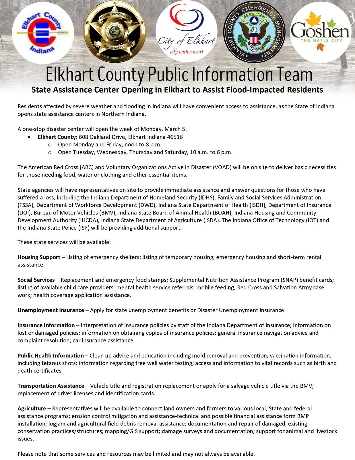 state assistance center opening in elkhart to assist flood impacted residents elkhart county sheriffs department nextdoor - Rental Assistance Form