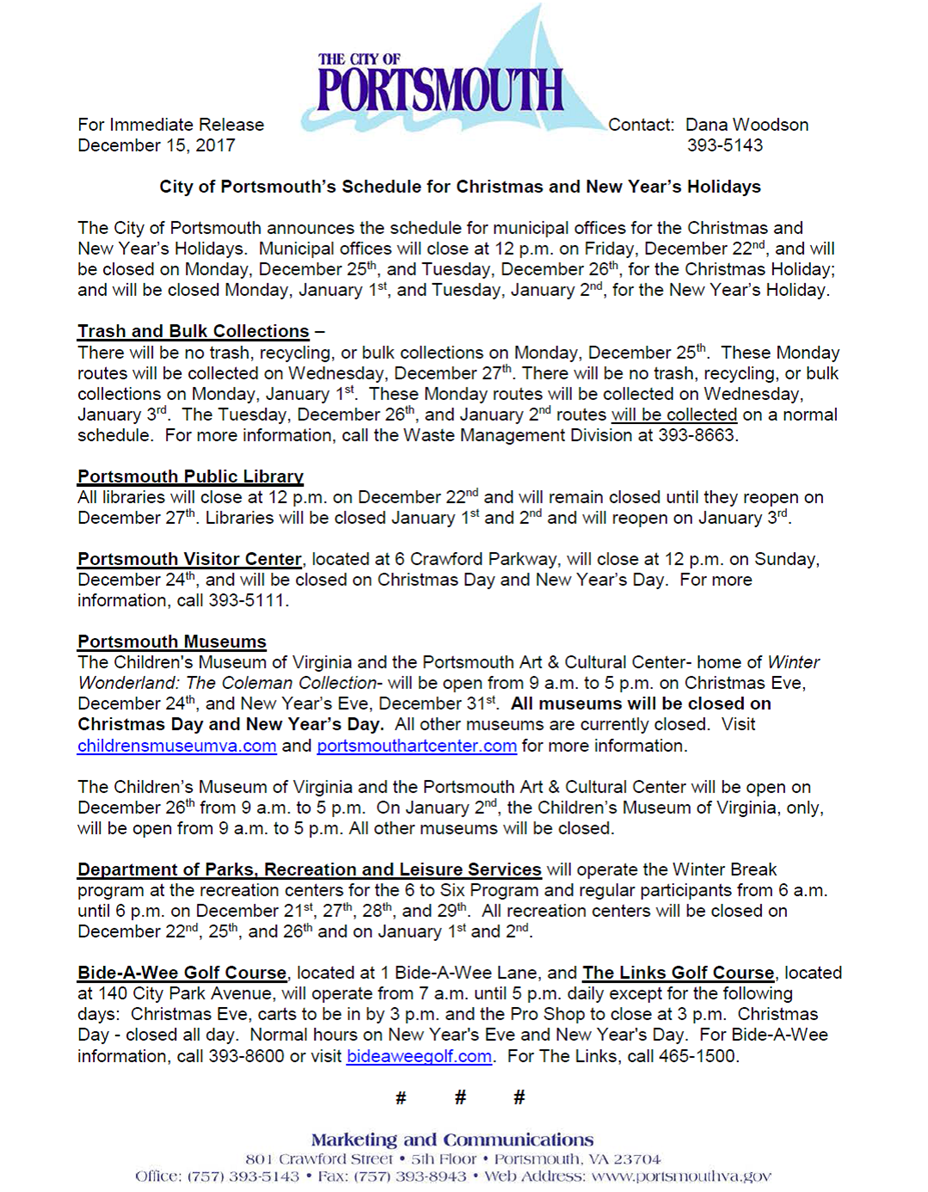 Portsmouth\'s Holiday Schedule- Christmas and New Year\'s (City of ...