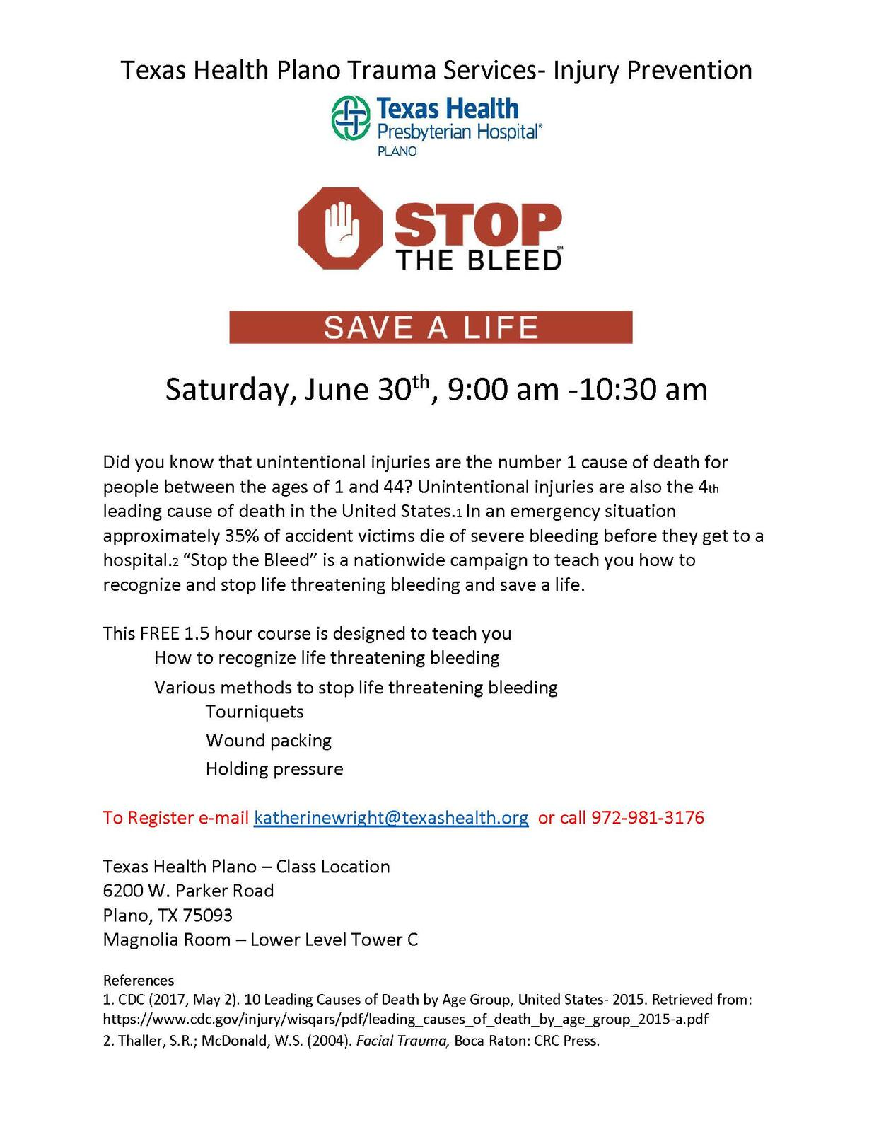 FREE Stop the Bleed class (Plano Police Department) &mdash