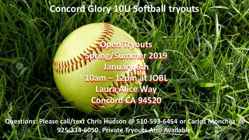Jan 6 · 10U Concord Glory Softball Tryouts Coming Up! — Nextdoor