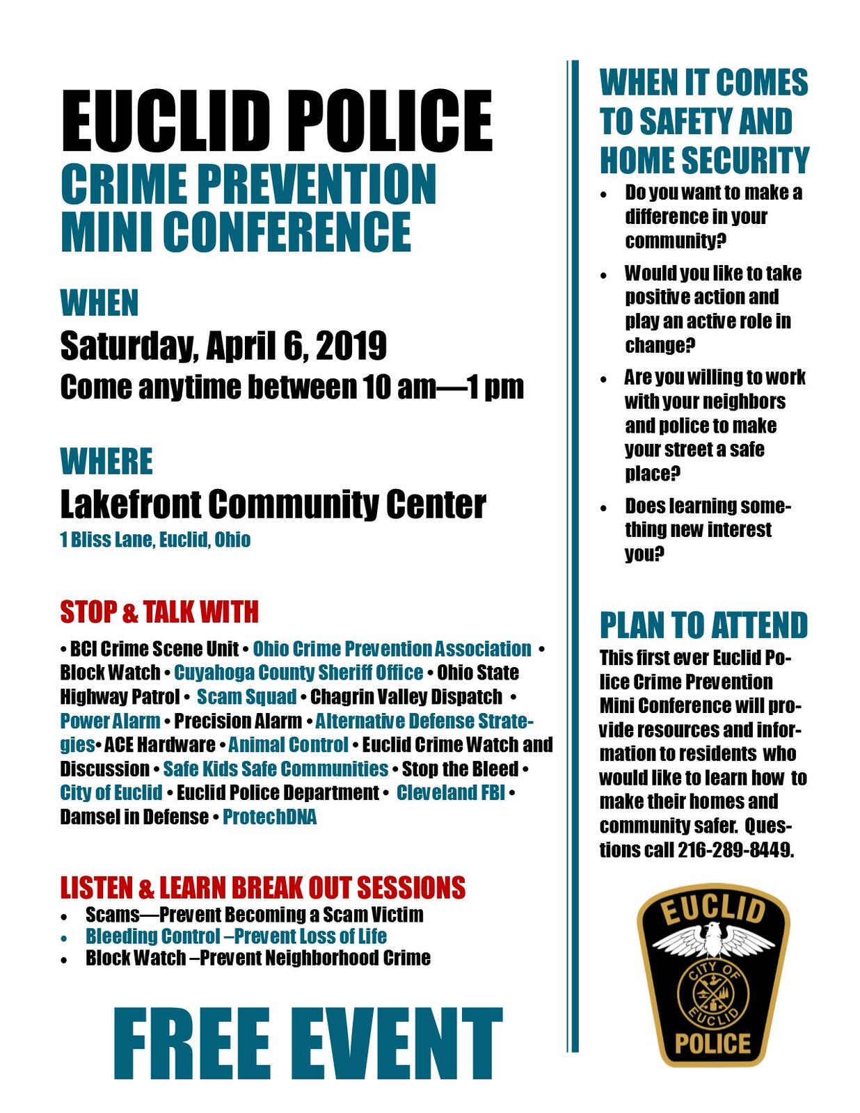 Crime Prevention Conference April 6 (Euclid Police