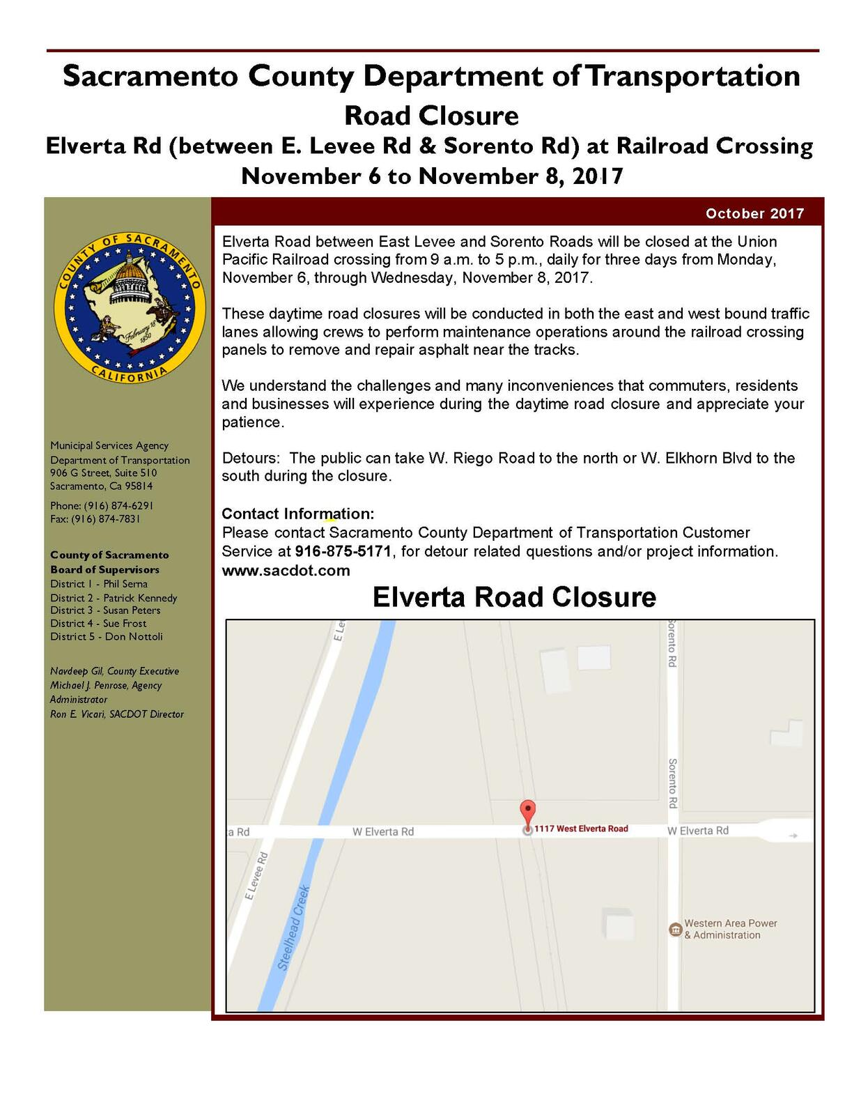 Road Closure Notification Elverta Between East Levee Road And
