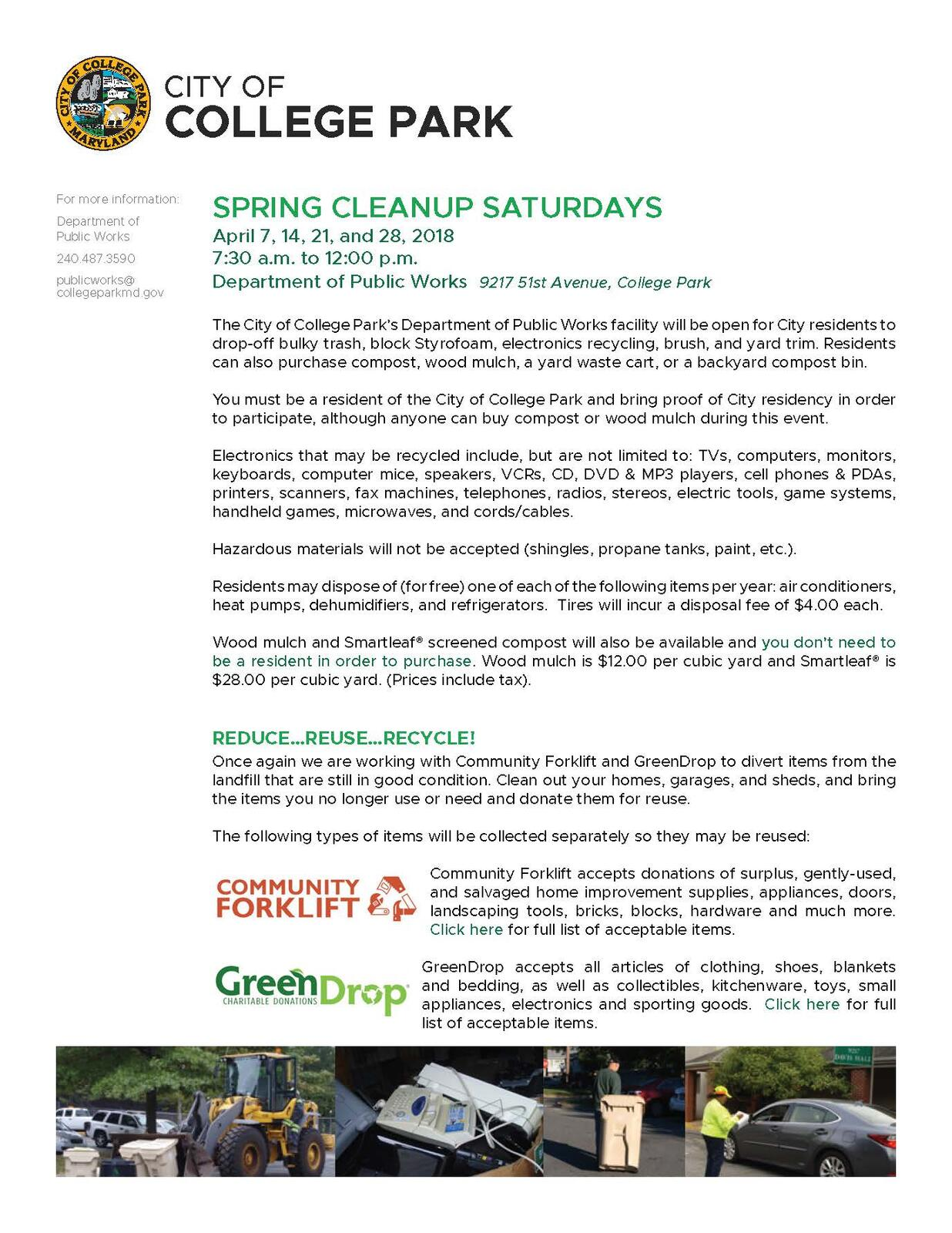 City Department of Public Works Spring Cleanup Saturdays