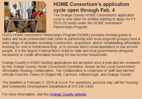 HOME Consortium's Application Cycle Open Through Feb  4 (Town of