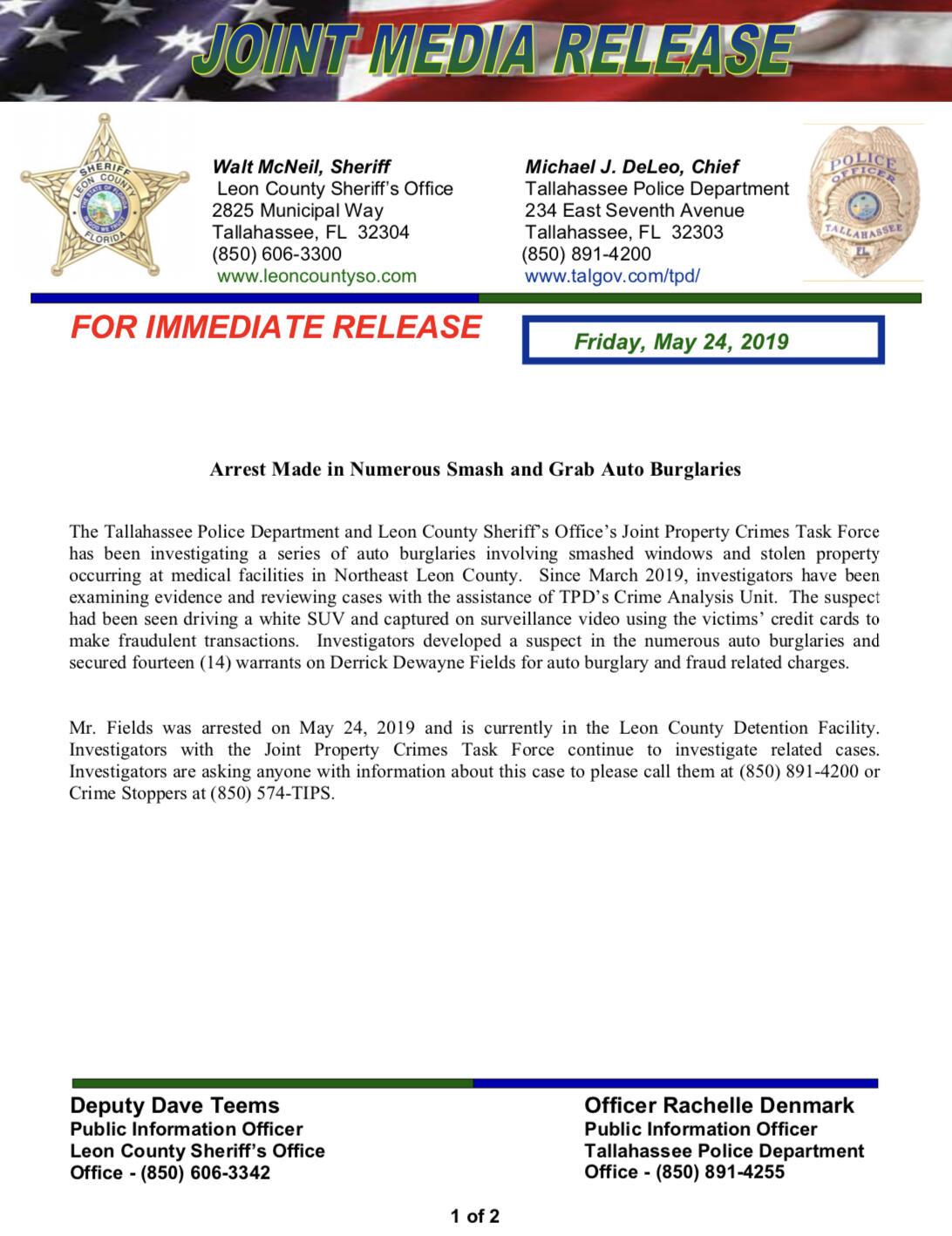 Arrest Made in Numerous 'Smash and Grab' Auto Burglaries