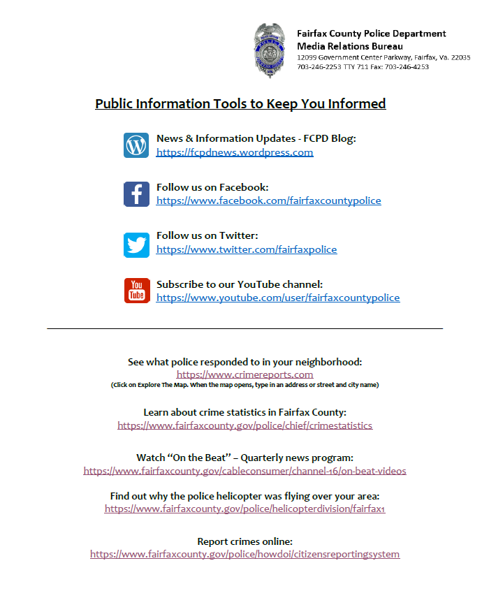 Fairfax County Police Information Tools to Keep You Informed