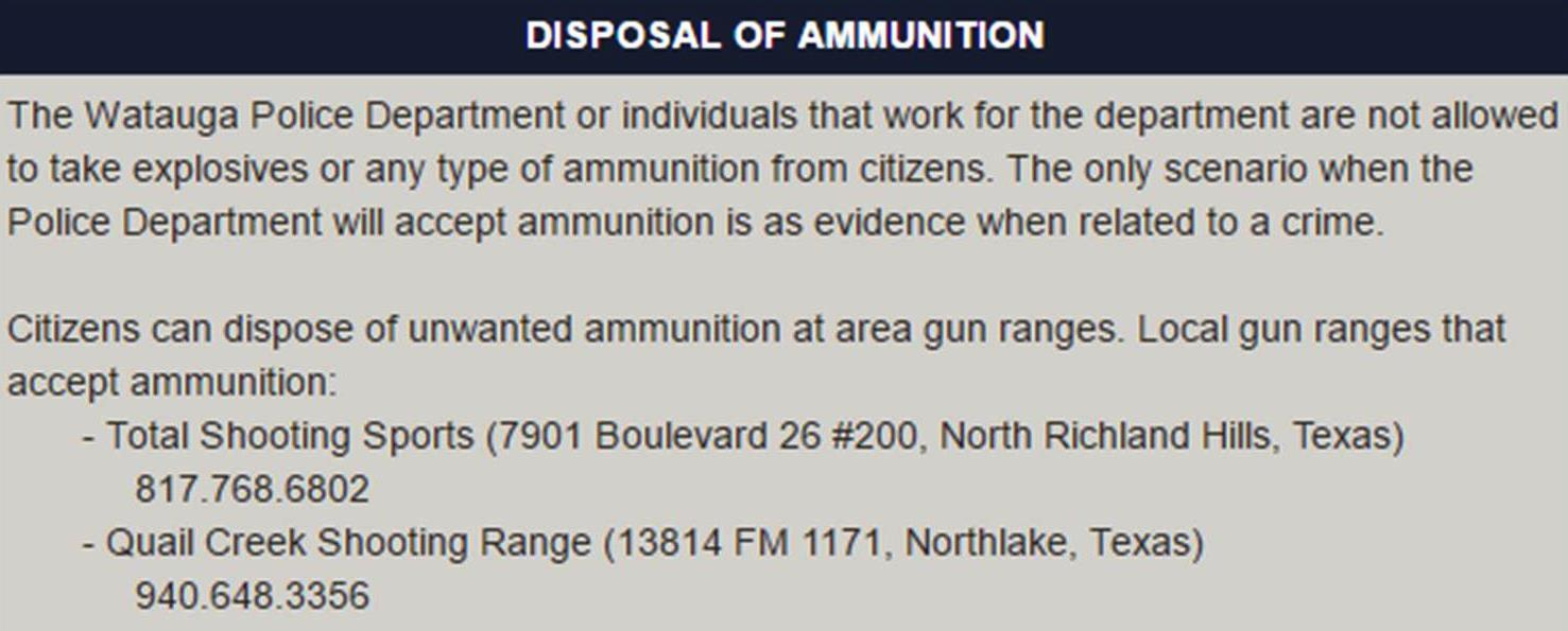Disposal of Ammunition (City of Watauga) &mdash