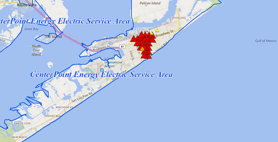 Power Outages On The Island (City of Galveston) &mdash ... on bloomington map, center point energy system map, oncor map,